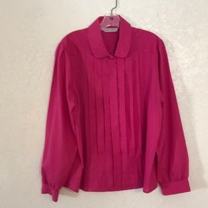 VINTAGE 80's pleated button up long sleeve blouse